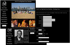 picture representation of some of the pages of the bigbandjazzmachine.com website